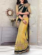 yellow chiffon embroidered saree -  online shopping for Sarees