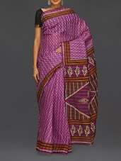Block Printed Purple Matka Cotton Saree - Komal Sarees