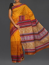 Ethnic Print Pallu Yellow Matka Cotton Saree - Komal Sarees