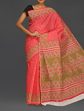 Peach Printed Pure Cotton Saree - Komal Sarees