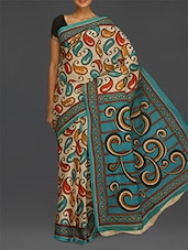 Multicoloured Paisley Print Pure Cotton Saree - Komal Sarees