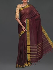 Golden Border Maroon Cotton Saree - Komal Sarees