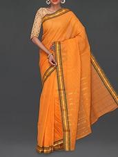 Yellow Self Striped Cotton Saree - Komal Sarees