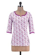 White Cotton Floral Print Top - By