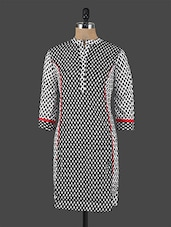 Quarter Sleeves Monochrome Print Cotton Kurta - Switchon