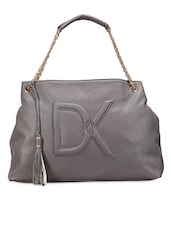 "Grey ""DK"" Chain Strap Leatherette Handbag - Diana Korr"