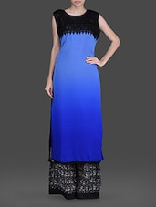 Sleeveless Lace Yoke Kurta With Printed Palazzo - Concepts