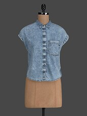 Blue Denim Crop Shirt - Concepts