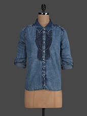 Blue Embroidered Denim Shirt - Concepts