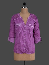 Purple Cotton Denim Shirt - Concepts