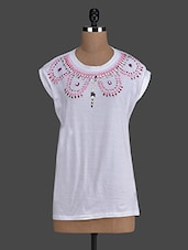 White Embellished Round Neck Top - Concepts