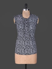 Floral Print Grey Sleeveless Cotton Top - Oviya