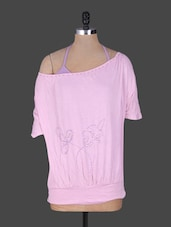 Embellished Pink Wide Neck Top - By