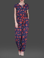 Floral Print Short Sleeves Poly-crepe Jumpsuit - AARDEE
