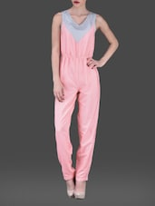 Pink Chevron Print Sleeveless Poly-crepe Jumpsuit - AARDEE