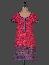 Printed Short Sleeves Cotton Kurti - AARDEE