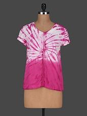 Tie & Dye Short Sleeves Cotton Top - AARDEE - 1135644