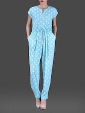 Sky Blue Polka Printed Poly-crepe Jumpsuit - AARDEE