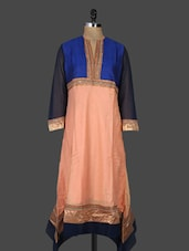 Color Blocked Chanderi Long Kurta - SareeLane