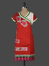Red Embroidered Cotton Tunic - SareeLane