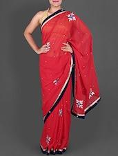 Red Chiffon Saree With Gota-Patti Work - Saree Ghar