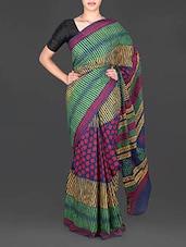 Multicolored Printed Mulmul Cotton Saree - Aaradhya Creation