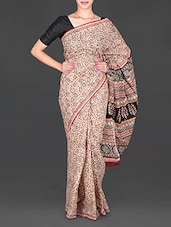 Beige Printed Mulmul Cotton Saree - Aaradhya Creation