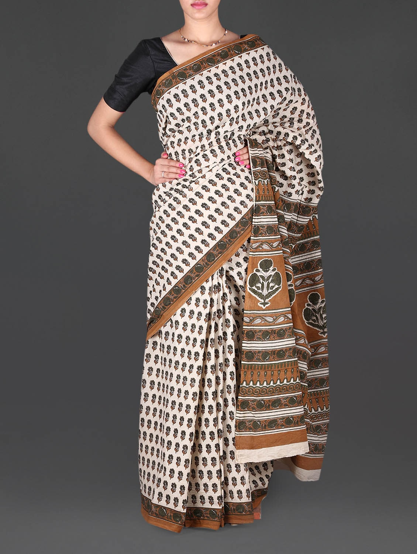 Beige Floral Printed Mulmul Cotton Saree - Aaradhya Creation