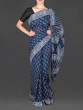 Blue Floral Printed Mulmul Cotton Saree - Aaradhya Creation
