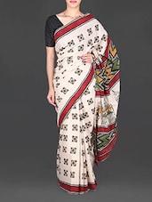 Cream Printed Mulmul Cotton Saree - Aaradhya Creation