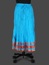 Zari Border Solid Blue Ethnic Cotton Kurta - JAIPUR KALA KENDRA