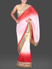 Red And White Ombre Georgette Saree - Saree Street
