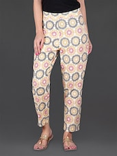 Beige Printed Ethnic Cotton Pants - JUNIPER Fruit Of Fashion