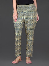 Green Printed Cotton Ethnic Pants - JUNIPER Fruit Of Fashion