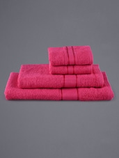 Set Of 4 Solid Pink Towels - Eurospa