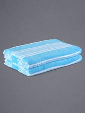 Set Of 2 Stripped Blue Bath Towels - Eurospa