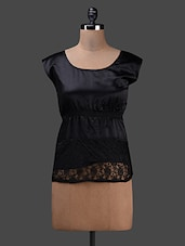 Elastic Waist Lace Covered Satin Top - Albely