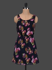 Floral Print Sleeveless Poly Georgette Dress - AVIDDIVA