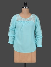 Blue Round Neck Lace Yoke Top - AVIDDIVA