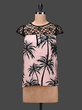 Tropical Printed Round Neck Lace Yoke Top - BELLE BONITA