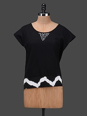 Round Printed Cap Sleeves Cotton And Polyester Crepe Top - BELLE BONITA