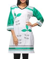 Green And White Cotton Printed Kurta - KIFA