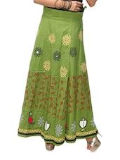 Green Printed Wrap Around Long Skirt - KIFA