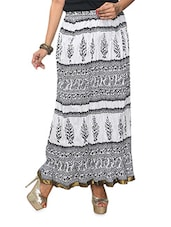 Monochrome Printed Cotton Long Skirt - KIFA
