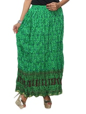 Green Crushed Cotton Long Skirt - KIFA