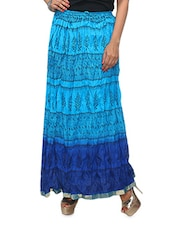 Blue Printed Ombre Cotton Long Skirt - KIFA