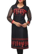 Black Printed Kurti With Lacy Sleeves - KiFa Lifestyle