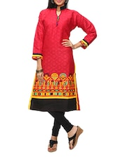 Red Printed Collared Cotton Kurti - KIFA