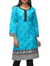 Blue Printed Round Neck Cotton Kurti - KiFa Lifestyle