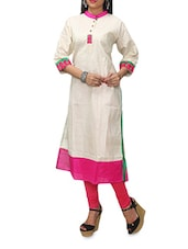 Cream Long Kurta With Mandarin Collar - KiFa Lifestyle